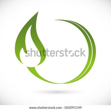 Green fire icon - stock photo