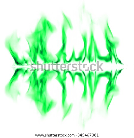 Green fire light smoke abstract shapes background
