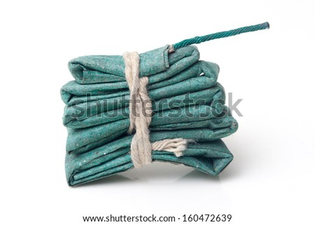 green firecracker / banger isolated on white background - stock photo