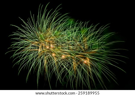 Green fireworks at international competition in Montreal - stock photo
