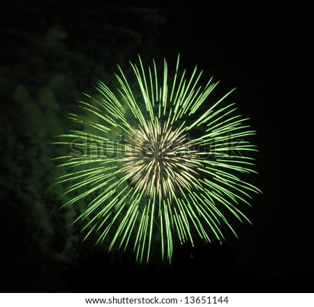 Green fireworks on Independence day - stock photo