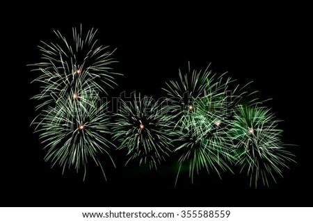 Green fireworks show - stock photo