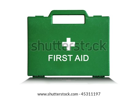 Green first aid kit box against a white background