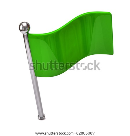 Green flag isolated on white background - stock photo