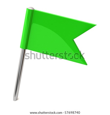 Green flag pin - stock photo
