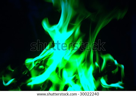 green flames - stock photo