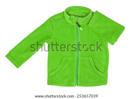 Green fleece jacket, isolated on the white - stock photo