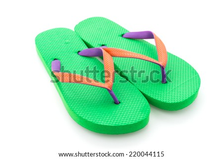 Green flip flop isolated on white background - stock photo