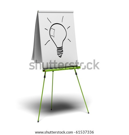 green flipchart with a light bulb drawn on it, image is over a white background - stock photo