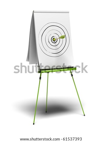 green flipchart with a target drawn on it and an arrow hitting the center, image is over a white background - stock photo
