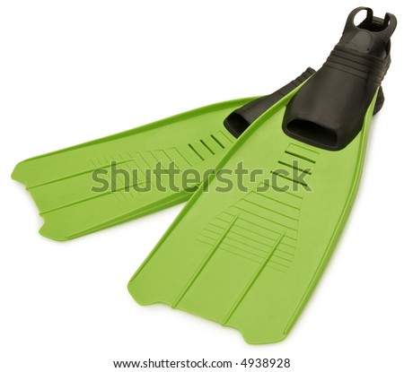 Green Flippers - isolated on white - stock photo