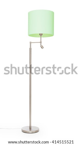 Green floor lamp, isolated on white background - stock photo