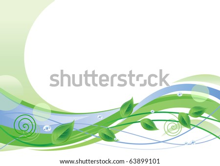 Green Floral Background With Space For Text - stock photo