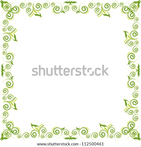 green floral background with swirl and leaf
