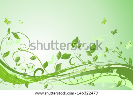 Green floral banner. Raster copy of vector banner - stock photo