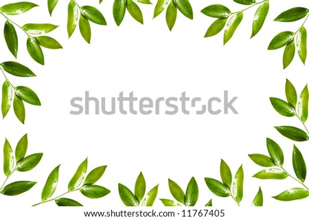 green floral frame - stock photo