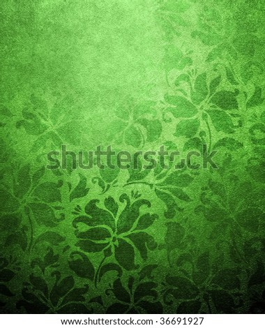 green floral wallpaper - stock photo