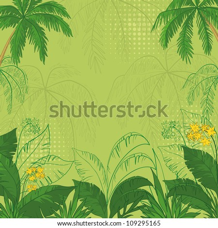 green flower background with tropical flowers, palm trees leaves and contours - stock photo