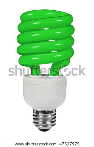 Green Fluorescent lightbulb isolated over white with a clipping path - stock photo