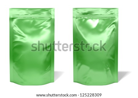 Green foil bag package isolated on white background - stock photo