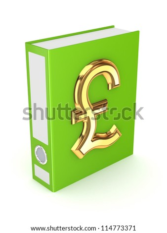 Green folder with golden symbol of pound sterling.Isolated on white background.3d rendered.