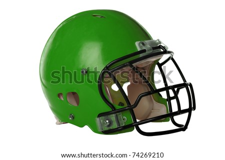 Green football helmet isolated over white background - With Clipping Path