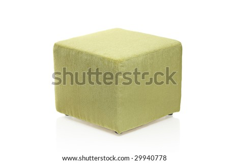 Green footstool isolated against white background - stock photo