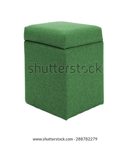 green footstool isolated on white - stock photo