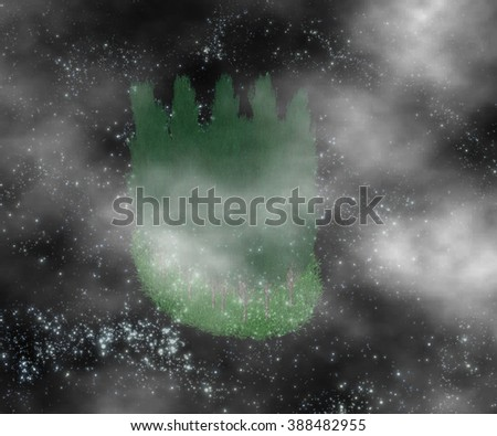 Green forest behind the clouds in the night sky a distant galaxy - stock photo