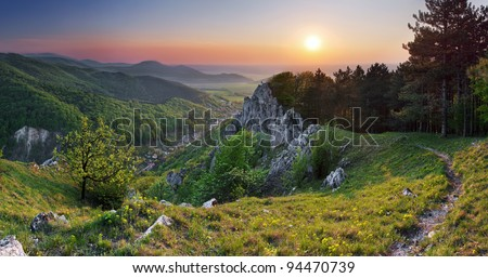 Green forest mountain at sunset with sun - stock photo