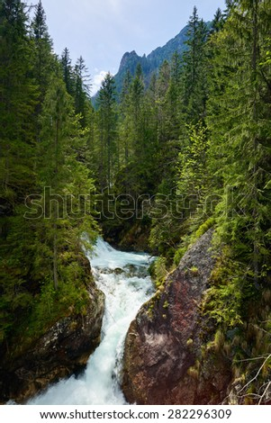 Green forest waterfall stream water river Tatra mountains Carpathians - stock photo