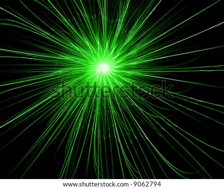 Green Fractal Circle on Black Background - stock photo
