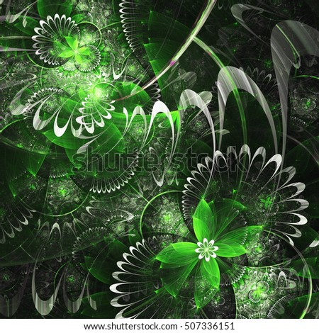Green fractal flowers, digital artwork for creative graphic design