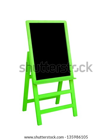 green frame black board is on white background - stock photo