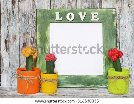 green frame with place for text or photos and	