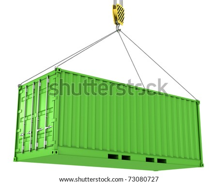 Green freight container hoisted, isolated on white background - stock photo