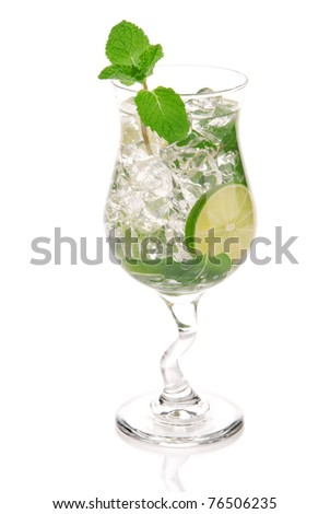 Green Fresh alcohol mojito cocktail in a cocktails glass isolated over white background - stock photo