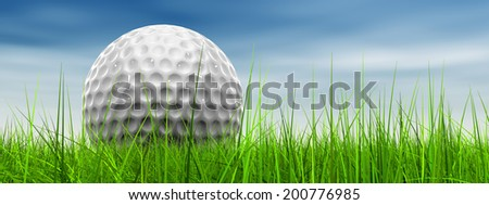 Green, fresh and natural 3d conceptual grass over a blue sky background banner with a golf ball at horizon - stock photo
