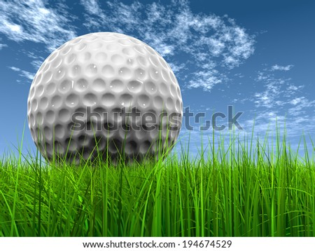 Green, fresh and natural 3d conceptual grass over a blue sky background with a golf ball at horizon ideal for club, sport, business, recreation, summer, competition, competition, g - stock photo