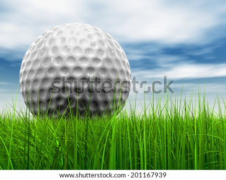 Green, fresh and natural 3d conceptual grass over a blue sky background with a golf ball at horizon - stock photo