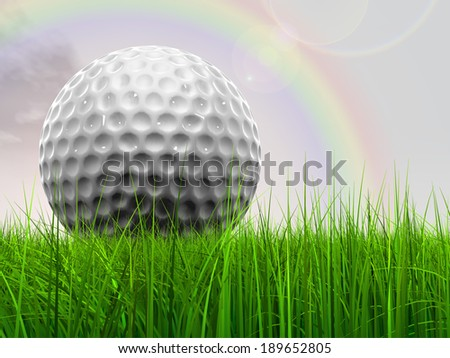 Green, fresh and natural 3d conceptual grass over a rainbow sky background with a golf ball at horizon ideal for club, sport, business, recreation, summer, competition, competition, game or fun design - stock photo