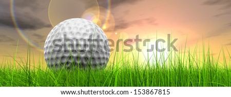 Green, fresh and natural 3d conceptual grass over sunset sky background with golf ball at horizon,for club,sport,business,recreation,play,game,concept,activity,leisure,competition or fun design banner - stock photo