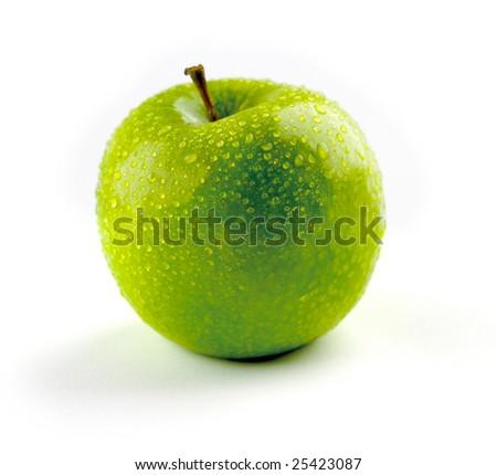 Green fresh apple isolated on white background - stock photo