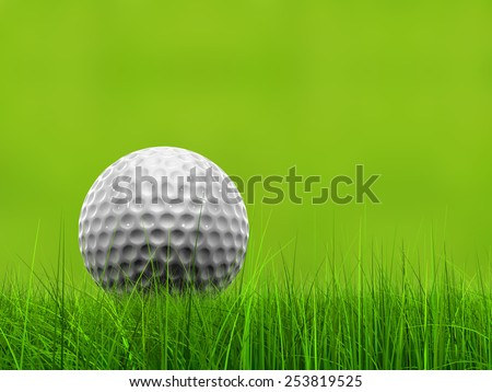Green fresh natural 3d conceptual grass field on blur background with a golf ball at horizon metaphor to club, sport, business, recreation, play, summer, competition, competition, game or fun design - stock photo