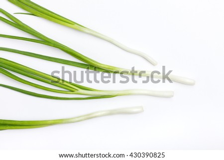 Green fresh onion  stalks on white background - stock photo