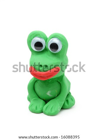Green frog made from child's play clay isolated on white background - stock photo