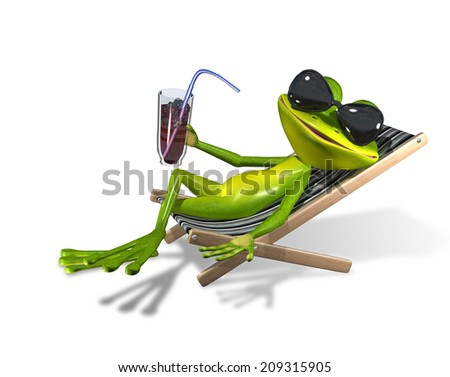 green frog with a drink on a sun lounger - stock photo