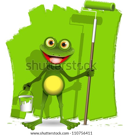 green frog with a roller to paint - stock photo
