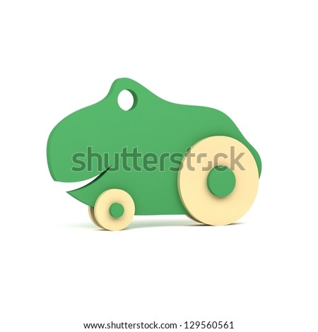 Green frog - wooden toy - isolated on white background - 3d rendering - high resolution image - stock photo
