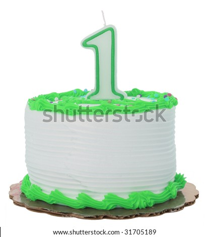 Green Frosted 1st Year Birthday Cake on Isolated Background - stock photo